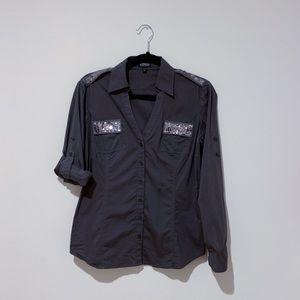 EXPRESS Gray Modern Essentials Stretch Shirt